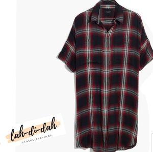 Madewell Courier Shirt Dress Grunge Plaid